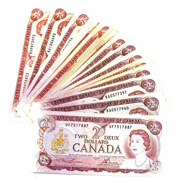 1974 Bank of Canada $2 Notes with 2 Letter Prefixes and Lawson-Bouey Signatures. 29pcs