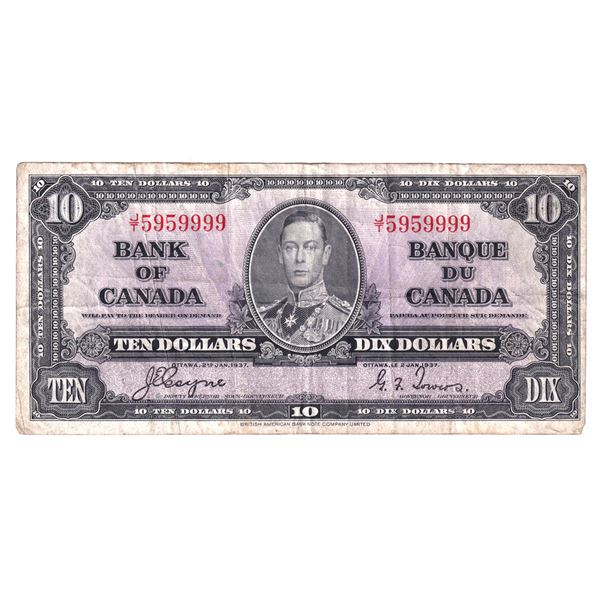 1937 BC-24c Bank of Canada $10, Coyne-Towers, Neat Serial Number J/T5959999, VF.