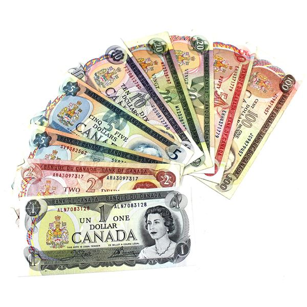 Full Run of 1969-1979 Bank of Canada Multi-coloured Series Banknotes in Average Condition. You will