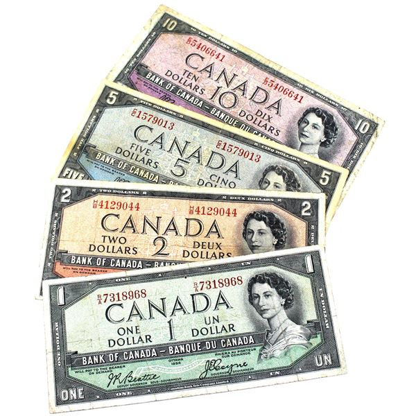 Lot of 1954 Bank of Canada $1, $2, $5 & $10 Devil's Face Banknotes in Average Condition. Notes may c