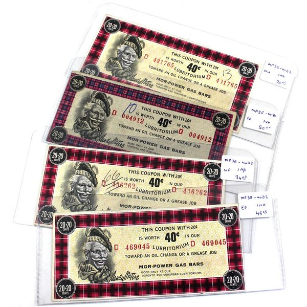 Estate Lot of 4x Scarcer 40-cent Canadian Tire Lubritorium Coupons in VF to AU Condition, As Per Lis