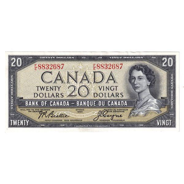 1954 BC-41a Bank of Canada $20, Beattie-Coyne, F/E8832687, AU.