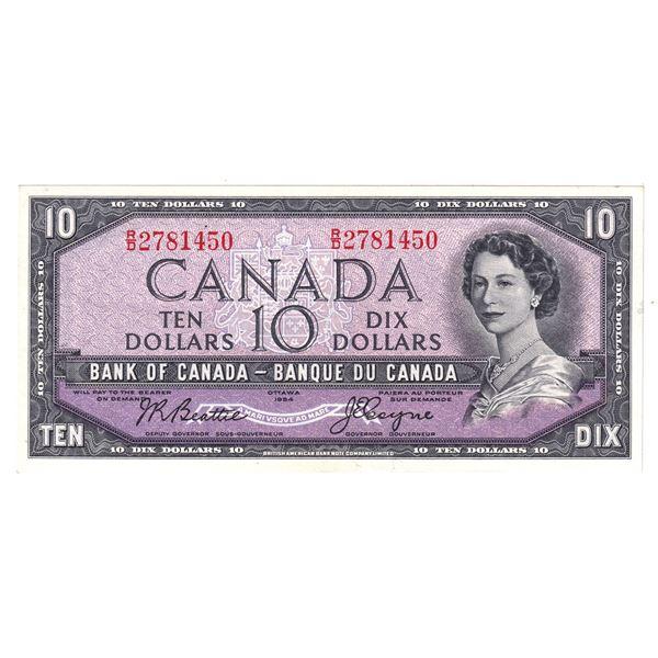 1954 BC-40a Bank of Canada $10, Beattie-Coyne, R/D2781450, EF-AU.