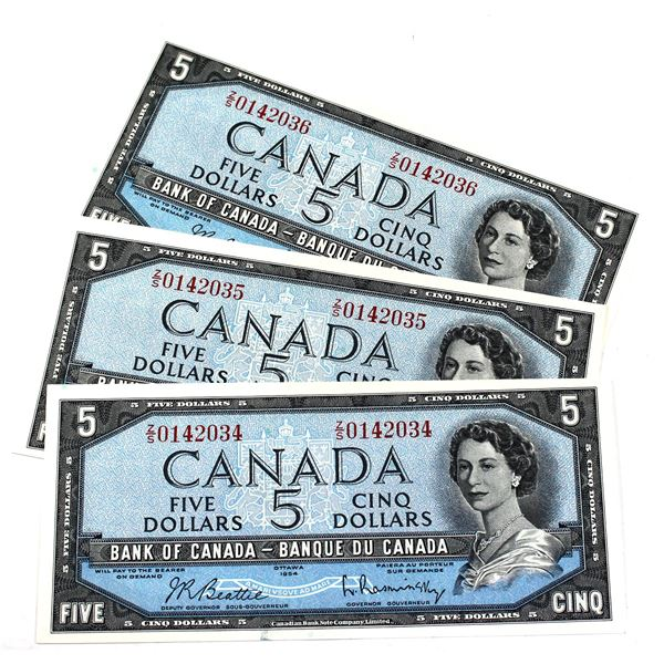 1954 BC-39b Bank of Canada $5 Notes Beattie-Rasminsky Signatures with Consecutive Serial Numbers Z/S