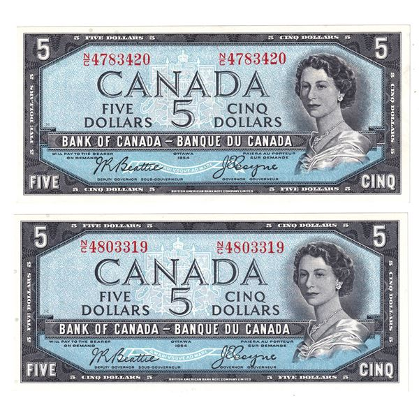 1954 BC-39a Bank of Canada $5 Notes, Beattie-Coyne Signatures with Serial Numbers N/C4783420 & N/C48