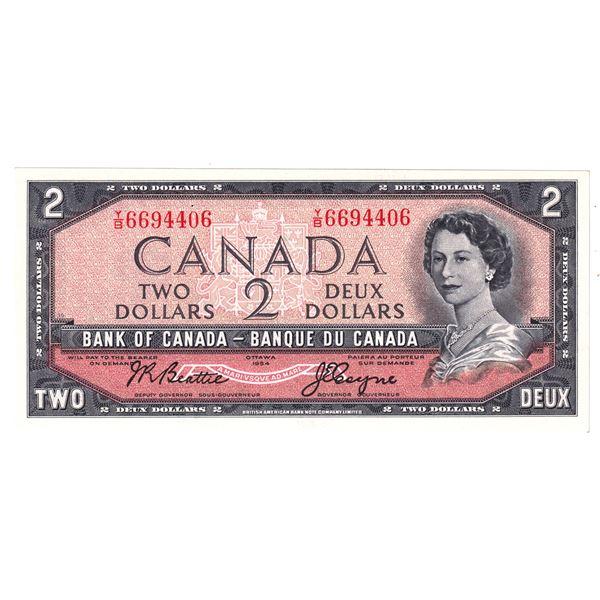 1954 BC-38a Bank of Canada $2, Beattie-Coyne, Y/B6694406, CUNC.