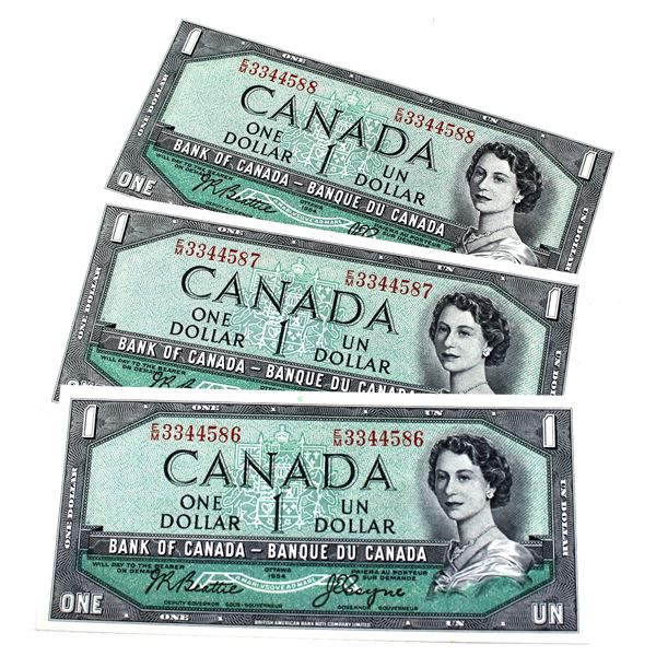 1954 BC-37a-i Bank of Canada $1, Beattie-Coyne Signatures with Consecutive Serial Numbers E/M3344586
