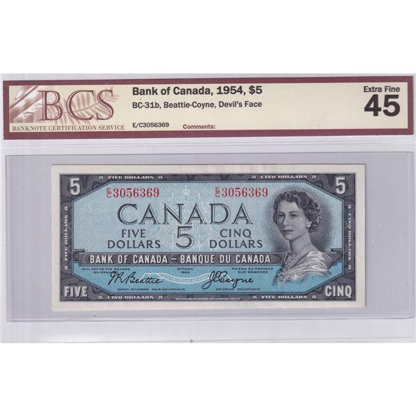 1954 BC-31b Bank of Canada $5, Beattie-Coyne, Devil's Face, E/C3056369, BCS Certified EF-45.