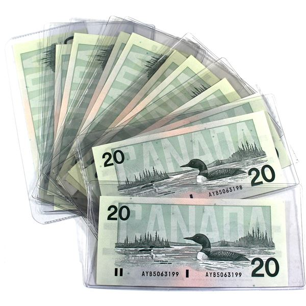 Estate lot of 11x 1991 Canada $20 with sequential notes;  AWK 8200863-AWK 8200867, AWK8200870-AWK 82