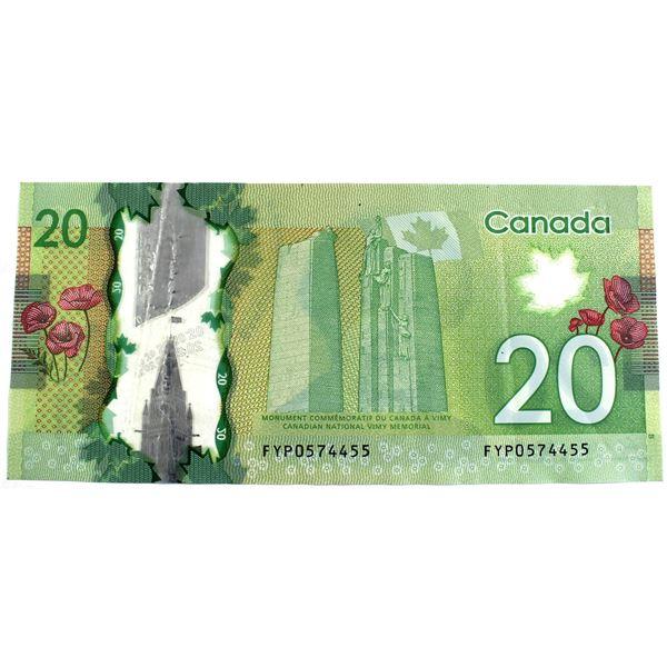 2012 BC-71b Bank of Canada $20, FYP0574455 Banknote.