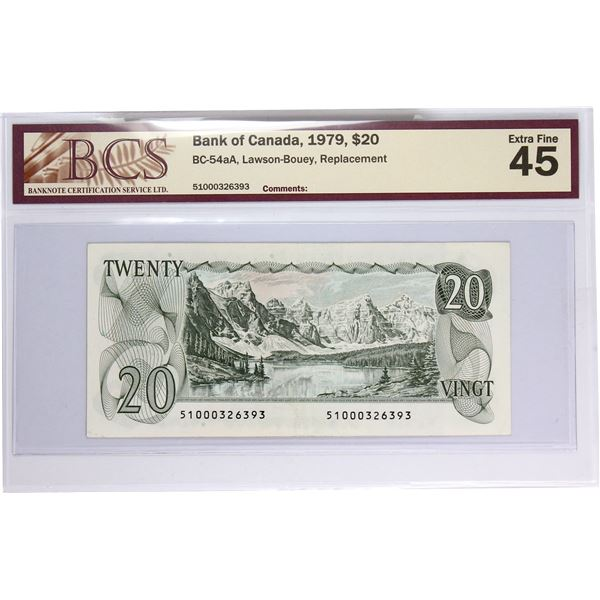 """BC-54aA 1979 Bank of Canada, $20 """"510"""" Replacement Lawson-Bouey, S/N: 51000326393. BCS Certified EF-"""