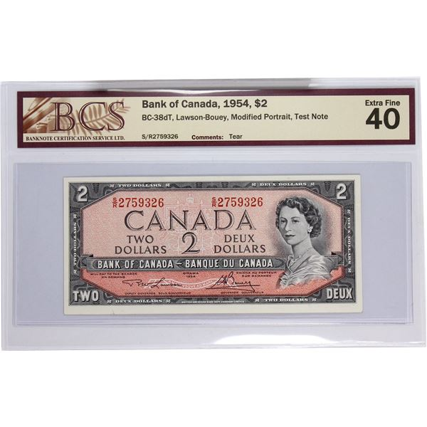 BC-38dT 1954 Bank of Canada, $2 TEST NOTE Modified  Lawson-Bouey, S/N: S/R2759326. BCS Certified EF-