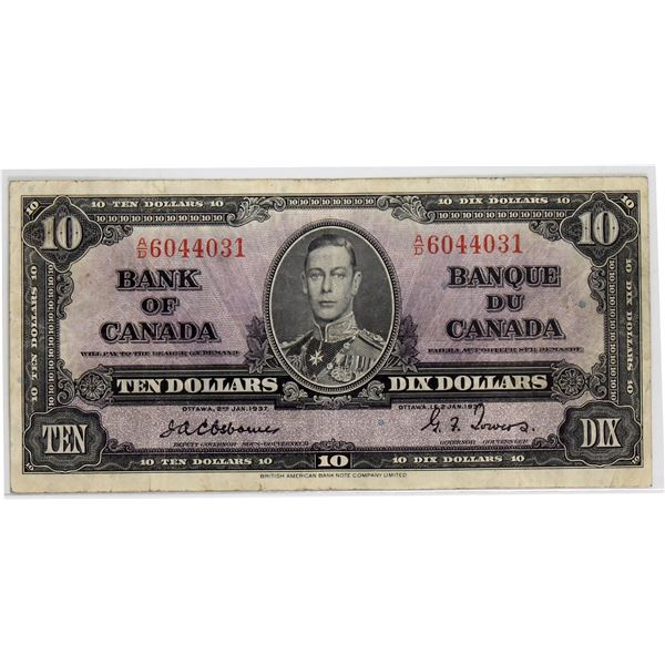 BC-24a 1937 Bank of Canada, $10  Osborne-Towers, S/N: A/D6044031. Nice F-VF condition on this rare s