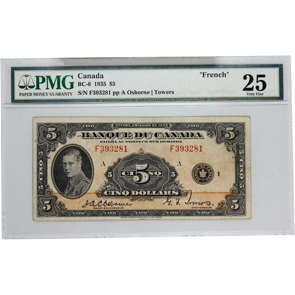 BC-6 1935 Bank of Canada, $5 French  Osborne-Towers, S/N: F393281-A. PMG Certified VF-25.