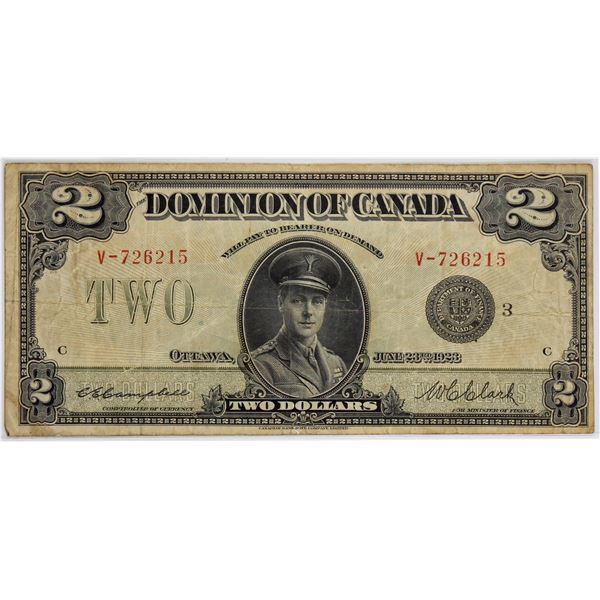DC-26k 1923 Dominion Of Canada, $2 Black Seal Group 3 Campbell-Clarke, S/N: V-726215-C. A F-VF note.