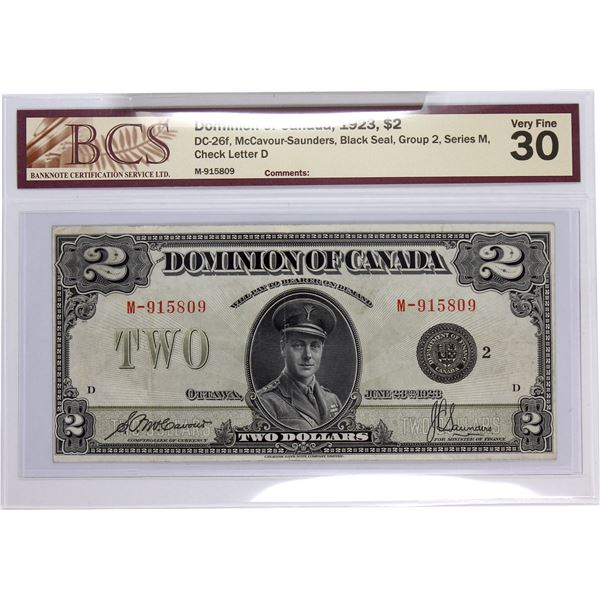 DC-26f 1923 Dominion Of Canada, $2 Black Seal, Group 2, Series M McCavour-Saunders, S/N: M-915809-D.