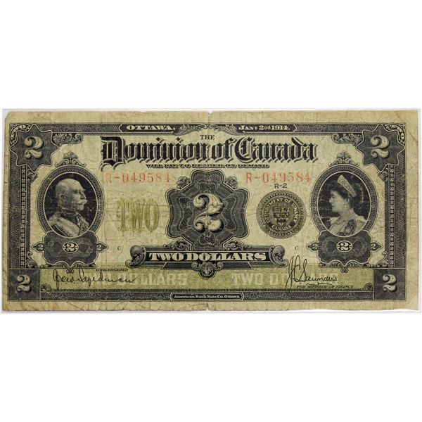 DC-22d 1914 Dominion Of Canada, $2 Seal Over TWO Hyndman-Saunders, S/N: R-049584-C. An about Fine ex