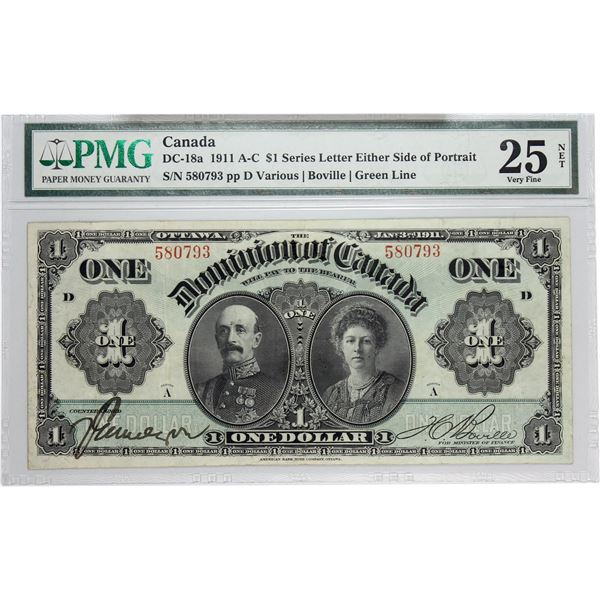 DC-18a 1911 Dominion Of Canada, $1 Green Line, Series A Various-Bouville, S/N: 580793-D.PMG Certifie