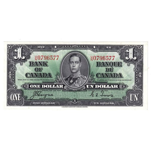 BC-21d 1937 Bank of Canada $1,  Coyne-Towers. S/N: U/N0796577 AU-UNC Condition.