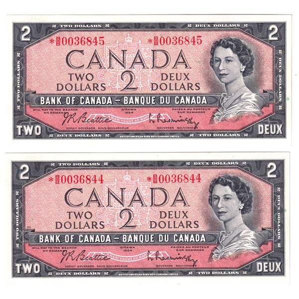BC-38bA 1954 Bank of Canada $2, 2x sequential Modified Replacement Beattie-Rasminsky. S/N: *B/B00368
