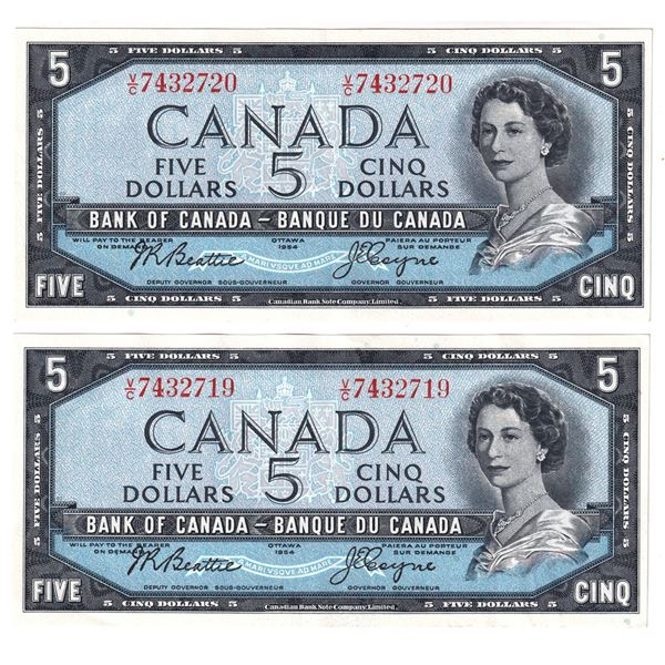 BC-39a-i 1954 Bank of Canada 5, 2x Sequential Modified Beattie-Coyne. S/N: V/C7432719/720 Both notes