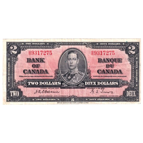BC-22a 1937 Bank of Canada $2, Osborne-Towers. S/N: B/B9317275 A Nice Clean Fine condition.