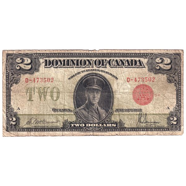 DC-26b 1923 Dominion Of Canada $2, Red Seal Group 1 McCavour-Saunders. S/N: D-473502-A Fine conditio