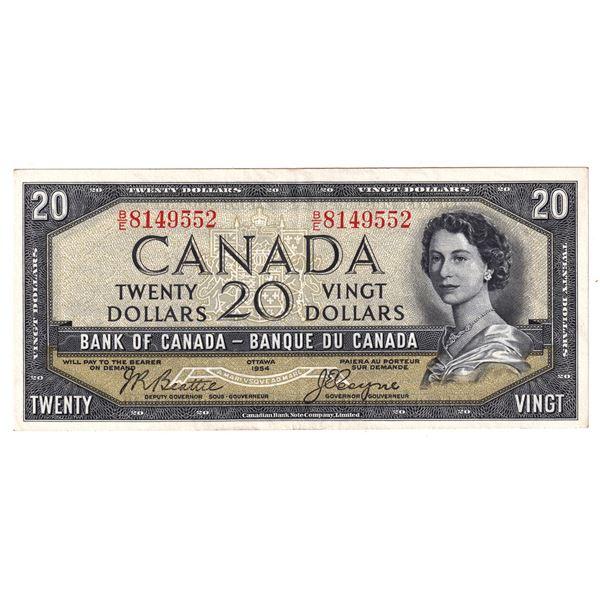 BC-33b 1954 Bank of Canada $20, Devil's Face Beattie-Coyne. S/N: B/E8149552 A bright attractive EF N