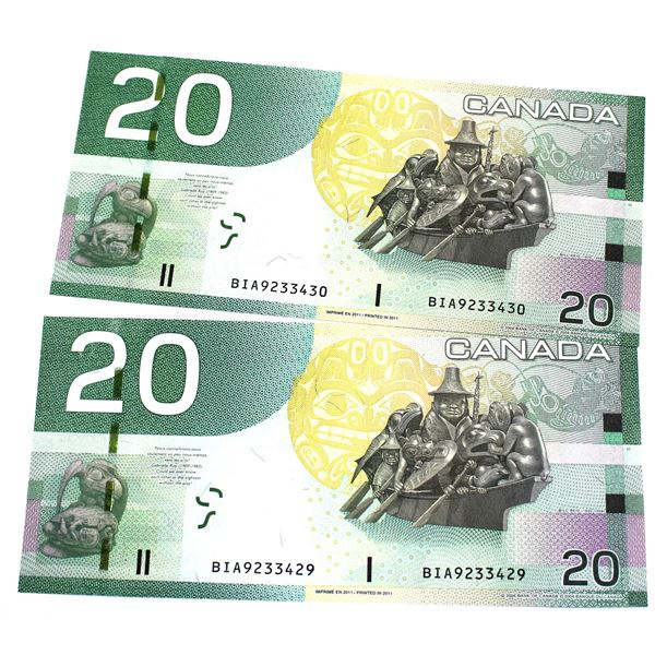 BC-64c 2004 Bank of Canada $20, 2x Consecutive  Macklem-Carney. S/N: BIA9233429/430 Both Notes are C