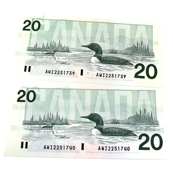 BC-58c  1991 Bank of Canada $20, 2x Consecutive  Knight-Thiessen. S/N: AWI2251739/740 Both Notes are