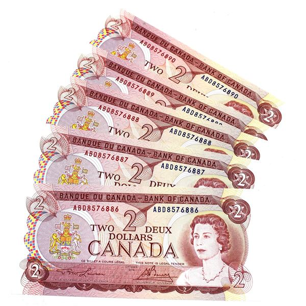BC-47a-i 1974 Bank of Canada $2, 5x Sequential  Lawson-Bouey. S/N: ABD8576886-890 All 5 notes nice c