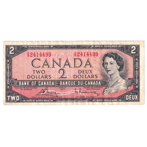 BC-38cT 1954 Bank of Canada $2, TEST NOTE Modified  Bouey-Rasminsky. S/N: S/R2414499 About VF condit
