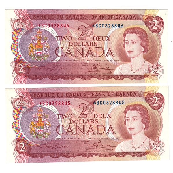 BC-47aA  1974 Bank of Canada $2, 2x sequential Replacements Lawson-Bouey. S/N: *BC0328845/846 *Below