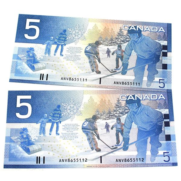 BC-62a 2001 Bank of Canada $5, 2x Sequential Knight-Dodge. S/N: ANV8655111/112 Both notes CUNC+ (2pc