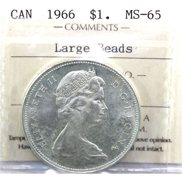 1966 Canada Silver Dollar Large Beads ICCS Certified MS-65