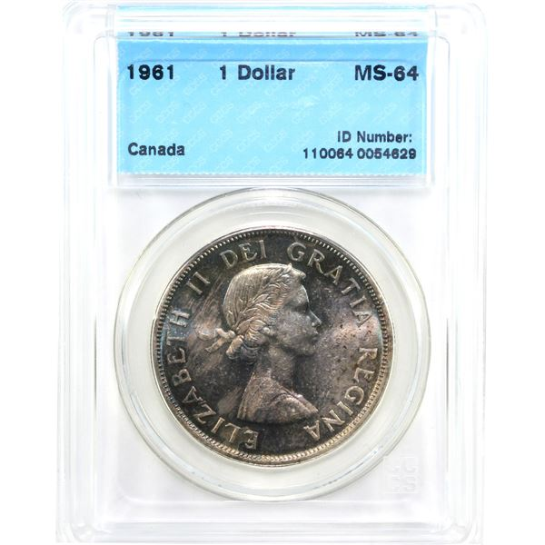 1961 Canada Silver Dollar CCCS Certified MS-64