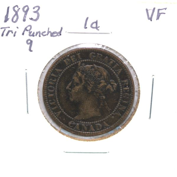1893 Tri punched 9  Canada 1-cent VF
