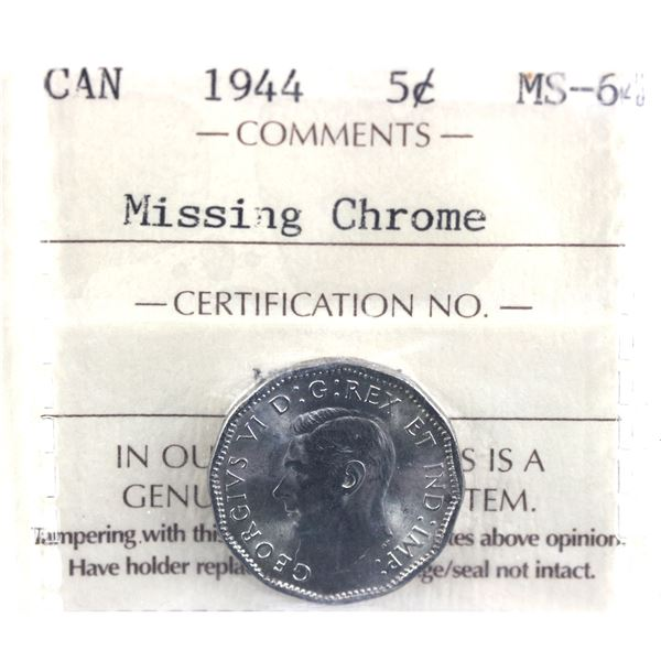 1944 Missing Chrome ICCS Certified MS-64
