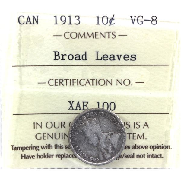 1913 Broad Leaves 10-cent ICCS Certified VG-8