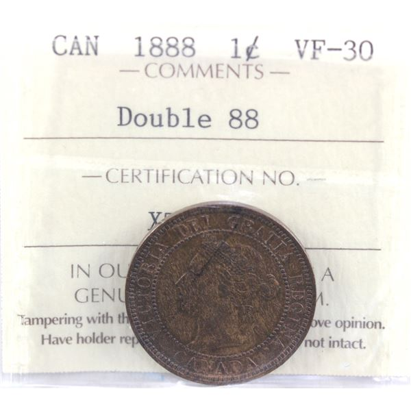 1888 Double 88 1-cent ICCS Certified VF-30