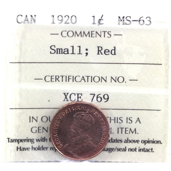 1920 small 1-cent ICCS Certified MS-63