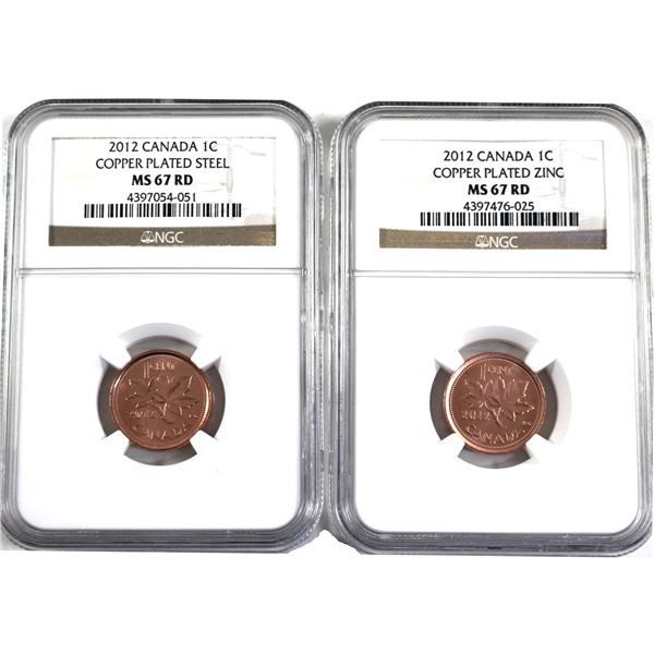 2012 Magnetic & 2012 Non-Magnetic 1-cent NGC Certified MS-67. 2pcs