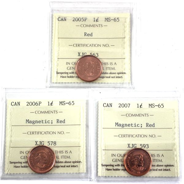 2005P, 2006P Magnetic & 2007 Magnetic 1-cent ICCS Certified MS-65. 3pcs