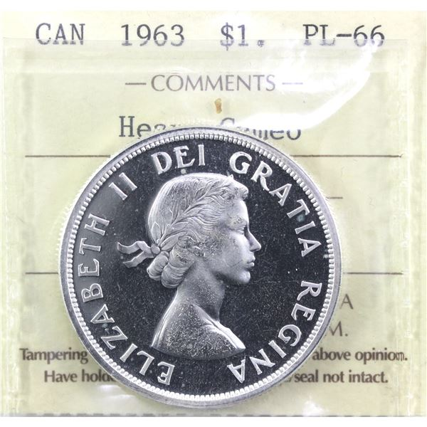 1963 Canada Silver Dollar ICCS Certified PL-66; Heavy Cameo