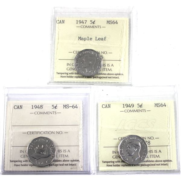 1947 Maple Leaf, 1948 & 1949 Canada 5-cent ICCS Certified MS-64. 3pcs