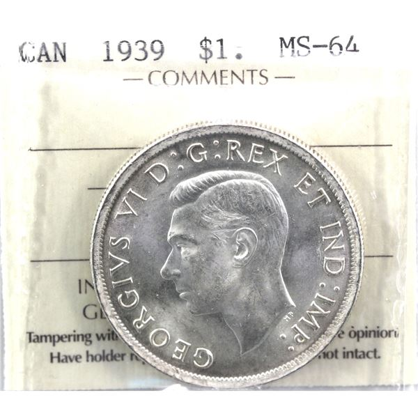 1939 Canada Silver Dollar ICCS Certified MS-64