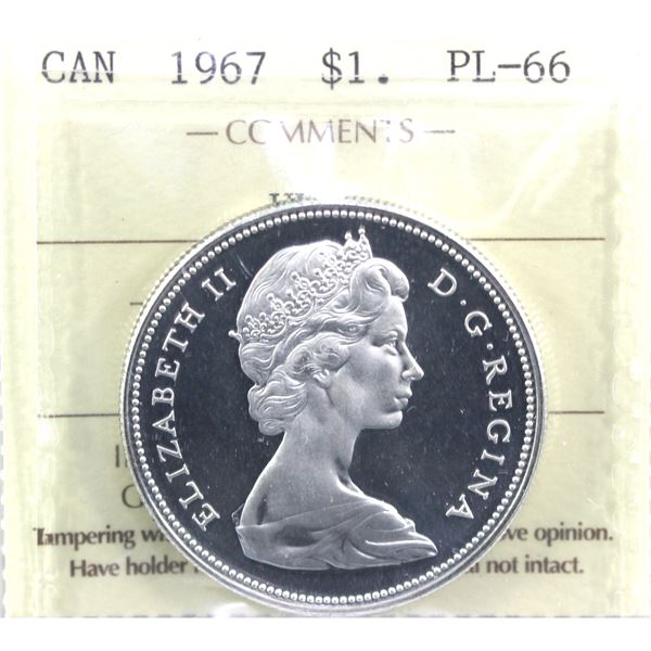 1967 Canada Silver Dollar ICCS Certified PL-66 Ultra Heavy Cameo
