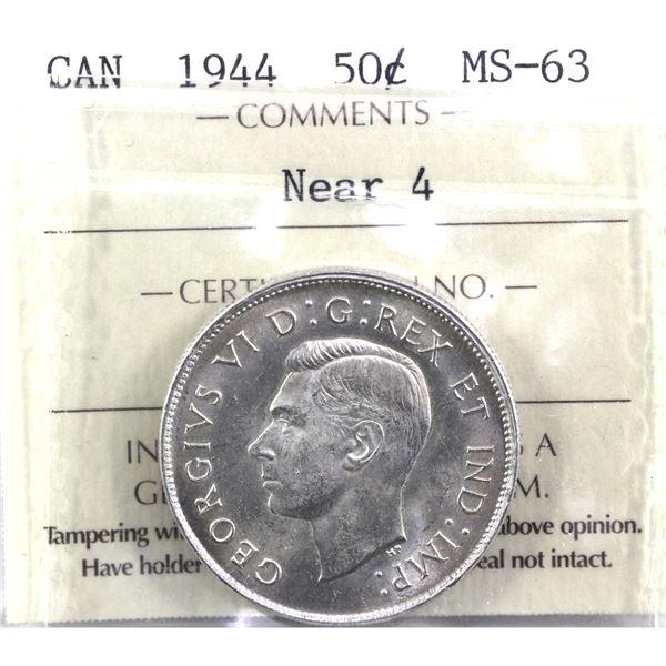 1944 Near 4 50-cent ICCS Certified MS-63