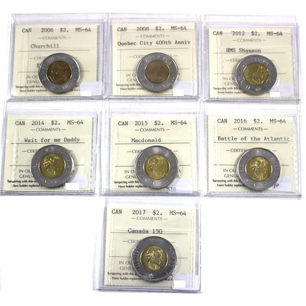 Lot of 7x Canada Commemorative Two Dollars ICCS Certified MS-64: 2006 Churchill, 2008 Quebec City 40