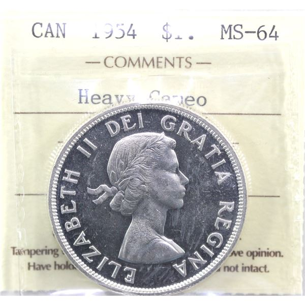 1954 Silver Dollar ICCS Certified Ms-64; Heavy Cameo